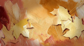 Graphic autumn leaves against hand painted, bright earthtone tex Stock Image