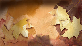 Graphic autumn leaves against hand painted, bright earthtone tex Royalty Free Stock Photo