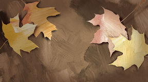 Graphic autumn leaves against hand painted textured background Stock Image