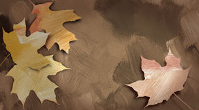Graphic autumn leaves against hand painted textured background Royalty Free Stock Photo