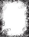 Graphic Background. Grunge black and white frame background illustration. Intricate swirl and curl design stock illustration