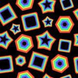 Graphic background with rainbow geometric figures on the black b. Ackground. Fantastic backdrop. Vector illustration Royalty Free Stock Image