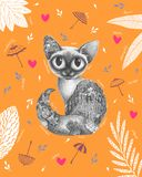 Graphic beautiful cat with autumn inside royalty free illustration