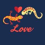Graphic beautiful lovers salamanders Stock Image