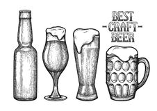 Graphic glasses of beer. Graphic beer in the bottle and glasses of three different shapes. Vintage vector illustration of alcoholic beverages drawn in engraving Stock Images