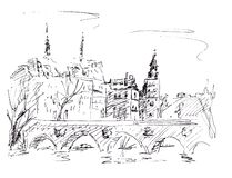 Free Graphic Black And White Drawing, Travel Sketch View Of Paris And Bridge Over The Seine River Royalty Free Stock Images - 187970359