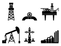Graphic black flat set of oil and gas vector icons for petroleum. Industry: drilling, extraction and processing of oil and gas; onshore and offshore signs; EPS stock illustration