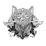 Graphic black vector cat. Illustration for design of t-shirts, mugs, pens, logos and other things stock illustration