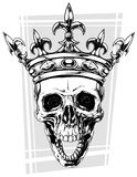 Graphic black and white human skull with crown Royalty Free Stock Photo
