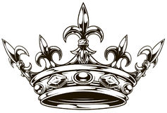 Graphic black and white king crown vector. Graphic black and white king crown with royal lily and diamonds vector royalty free illustration