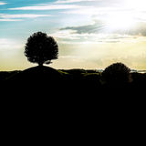 Graphic black and white landscape silhouette with a signal tree stock photo