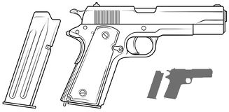 Graphic black and white pistol with ammo clip. Graphic black and white detailed handgun pistol with ammo clip. Isolated on white background. Vector icon set. Vol vector illustration