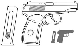 Graphic black and white pistol with ammo clip. Graphic black and white detailed handgun pistol with ammo clip. Isolated on white background. Vector icon set. Vol stock illustration