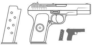 Graphic black and white pistol with ammo clip. Graphic black and white detailed handgun pistol with ammo clip. Isolated on white background. Vector icon set. Vol royalty free illustration