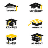 Graphic, black and white square academic, graduation cap logo templates Royalty Free Stock Photos