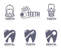 Graphic, black and white tooth, dental care logo templates Stock Photos