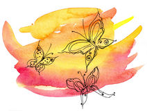 Graphic Butterflies. On a bright yellow-red watercolor background with a paper texture Royalty Free Stock Images