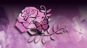 Graphic Butterfly and Rose Stock Photos