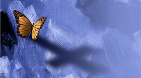Graphic butterfly with shadow of cross of Jesus. Graphic conceptual illustration of iconic butterfly casting a shadodw of the Christian cross of Jesus against a Royalty Free Stock Images
