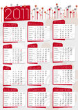 Graphic calendar in red and grey. English language Royalty Free Stock Images