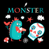 Graphic card with a funny monster Royalty Free Stock Photos