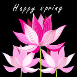 Graphic card with pink lotus Stock Photography