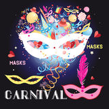 Graphic carnival masks Stock Image