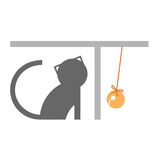 Graphic cat word. Graphic cat character playing bell Royalty Free Stock Photo