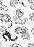 Graphic cats astronauts drawn in line art style. Seamless pattern Royalty Free Stock Photography
