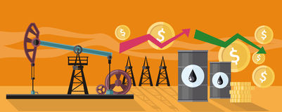Graphic Changes in Oil Prices Production. Illustration of oil production. Graphic changes in oil prices on the oil pump yellow field background. For web banners vector illustration