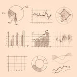 Graphic and chart collection hand drawing sketch of pie, bar, and other kind of statistics information Stock Image