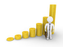 Graphic chart of stacked coins and a businessman Royalty Free Stock Photo