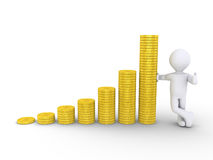 Graphic chart of stacked coins and a person Royalty Free Stock Image