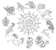 Graphic chart with zodiac animals isolated on white Stock Image