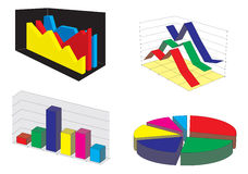 Graphic Charts. Four different graphic charts. Vector illustration Royalty Free Stock Image