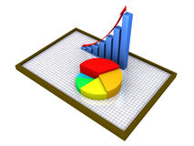 Graphic charts on a board with grid. 3d graphic charts on a board as report and statistics Stock Photography