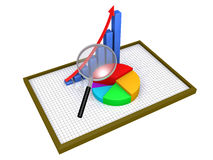 Graphic charts on a board and a magnifier. 3d graphic charts on a board as statistics and a magnifier Royalty Free Stock Photos