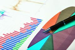 Graphic charts. Detail on some graphic charts printed on paper Royalty Free Stock Photo