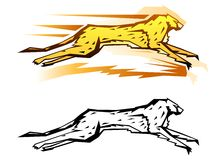 Graphic cheetah. Stylized cheetah vector illustration in two color variations Royalty Free Stock Photography