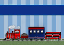 Graphic Choo Choo Train - Blue Stripes Background - Cars Stock Images