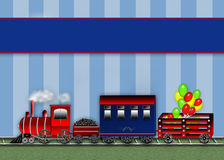 Graphic Choo Choo Train - Blue Stripes Background - Cars Royalty Free Stock Images
