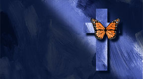 Graphic Christian cross and butterfly rebirth concept Royalty Free Stock Image