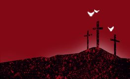 Graphic Christian crosses of Jesus abstract landscape with spiritual doves royalty free illustration