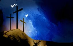 Graphic Christian crosses of Jesus landscape with spiritual dove. Graphic illustration of the Christian crosses at Calvary where Jesus Christ was crucified as a Stock Images