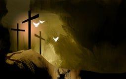 Graphic Christian crosses of Jesus landscape with spiritual dove vector illustration