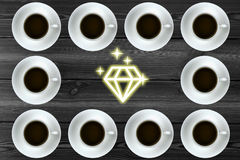 Graphic with coffee. Sparkling diamonds Stock Images