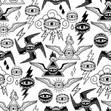 Graphic collection of all-seeing eyes. Graphic pattern of all-seeing eye with wings, clouds, and falming triangle. Vector art for old school tattoo design Stock Photo