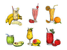 Graphic collection of different smoothie. Vector avocado, banana, mango, orange, strawberry, and tomato beverages. Stock Image