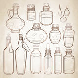 Graphic collection of glass bottles Royalty Free Stock Photo