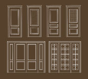Graphic collection interior doors Stock Photography